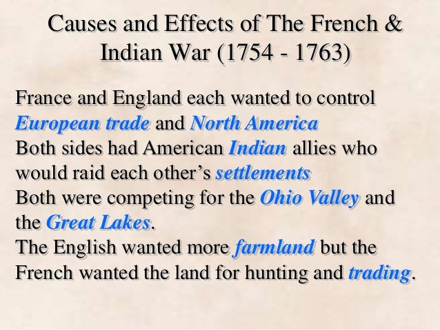 causes of the french and indian war essay