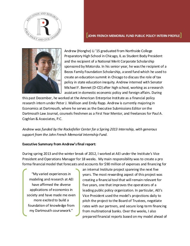 Andrew (Honghe) Li '15 graduated from Northside College Preparatory High School in Chicago, IL as Student Body President a...