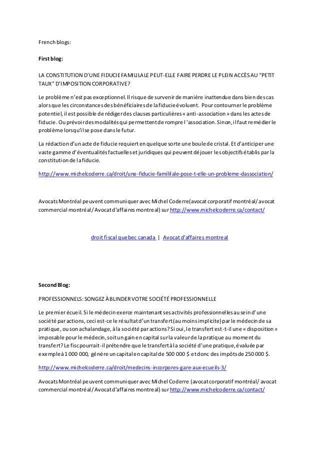 """Frenchblogs: First blog: LA CONSTITUTION D'UNE FIDUCIEFAMILILALE PEUT-ELLE FAIREPERDRE LE PLEIN ACCÈSAU """"PETIT TAUX"""" D'IMP..."""