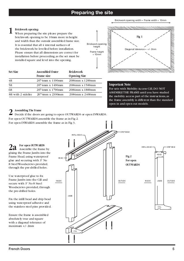 french door frame size