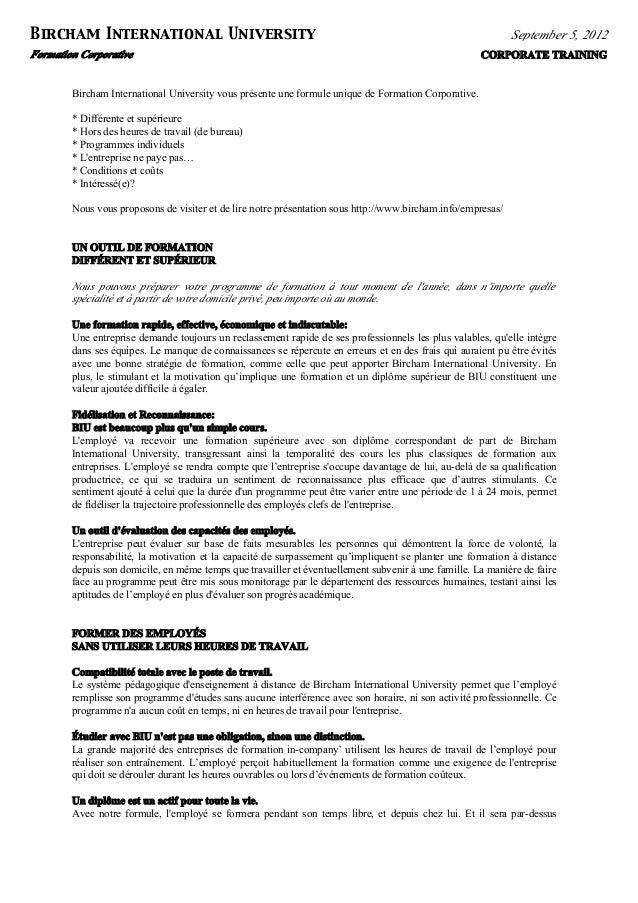 Formation Corporative CORPORATE TRAINING Bircham International University September 5, 2012 Bircham International Universi...