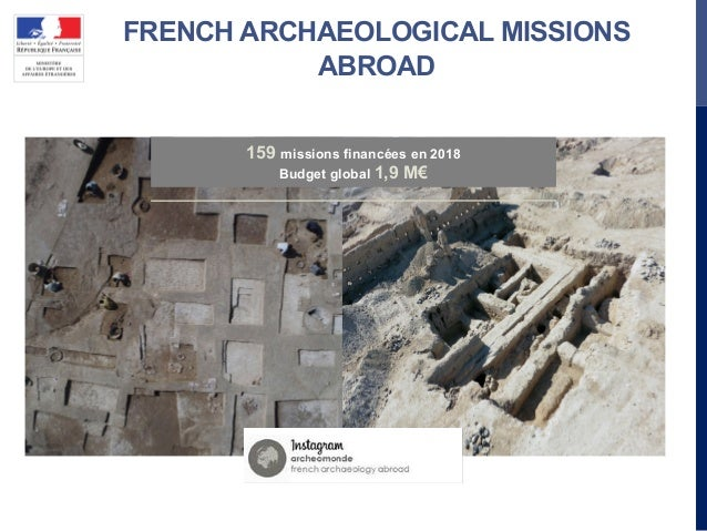 FRENCH ARCHAEOLOGICAL MISSIONS ABROAD 159 missions financées en 2018 Budget global 1,9 M€