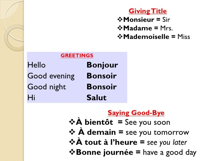 Good Morning Gay In French : French greeting go