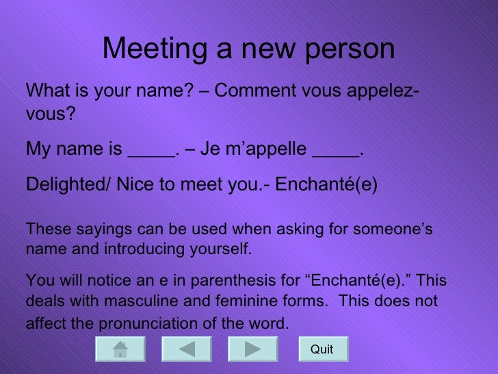How do you say meet and greet in french