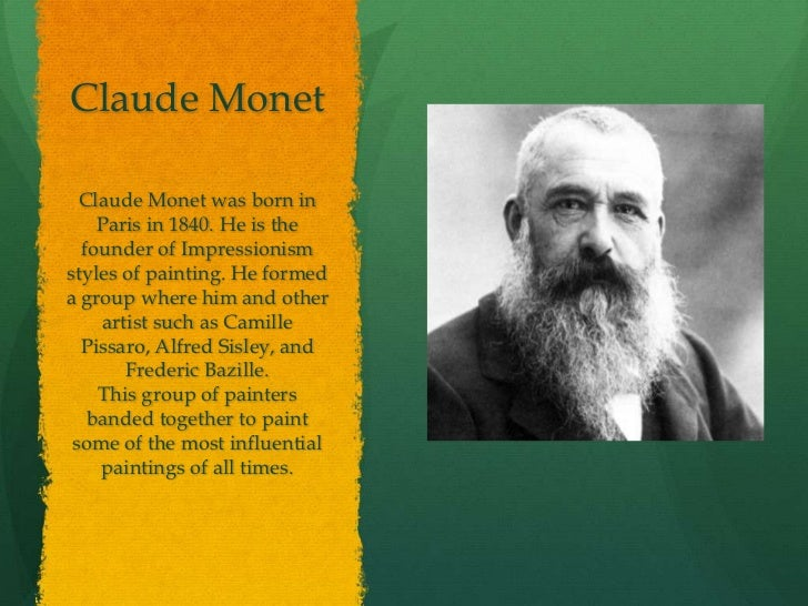 a biography of the life and times of claude monet Claude monet biography claude monet (1840-1926) was the primary inspiration for the new art movement of impressionism along with his contemporaries, he captured the light of nature on canvas in a unique, spontaneous and vivacious style.