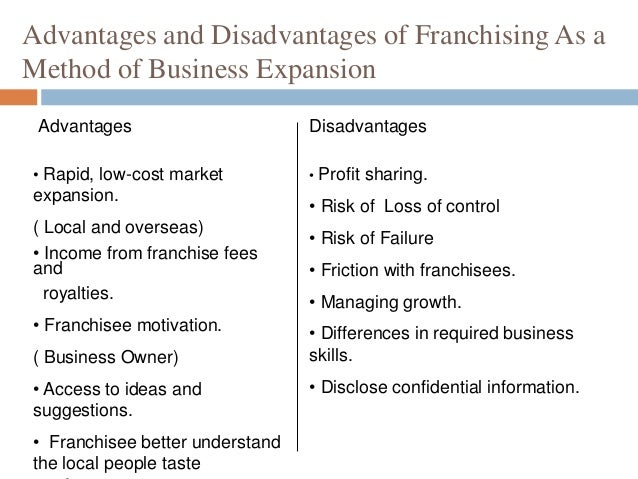 Franchise advantages and disadvantages pdf