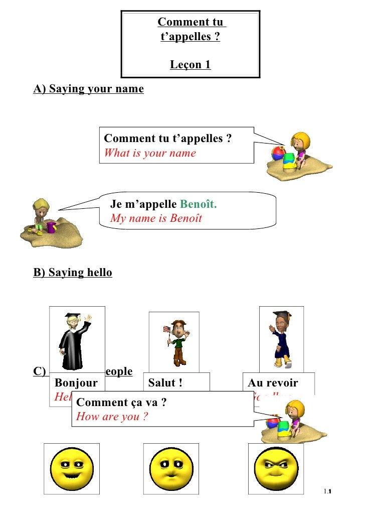Comment tu                        t'appelles ?                            Leçon 1 A) Saying your name                 Comm...