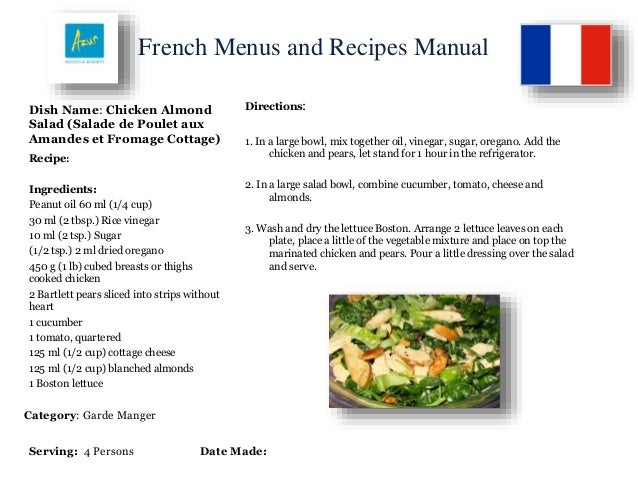 French menus and recipes manual