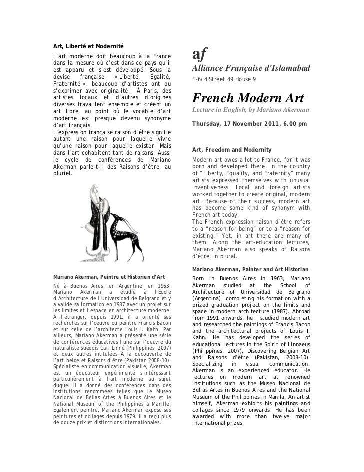 Art, Liberté et ModernitéL'art moderne doit beaucoup à la Francedans la mesure où c'est dans ce pays qu'il                ...