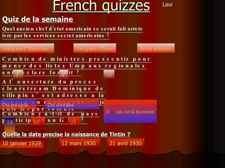 French quizzes   Quiz de la semaine   Quel ancien chef d'etat americain se serait fait arrete ivre par les services secret...