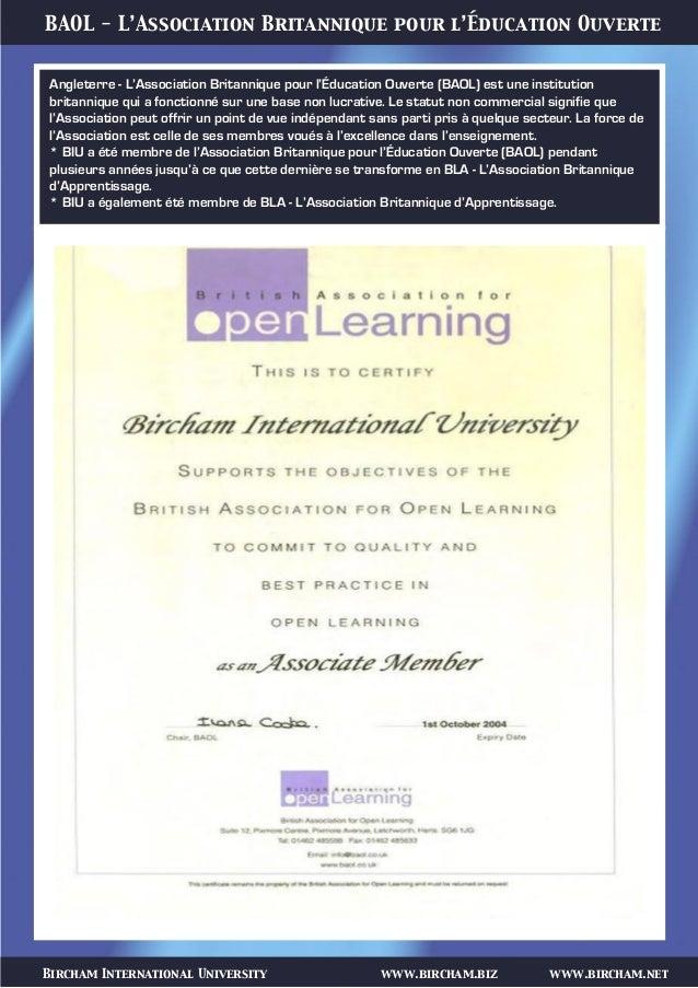 Bircham International University www.bircham.biz www.bircham.net BAOL - L'Association Britannique pour l'Éducation Ouverte...