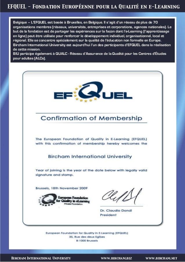 Bircham International University www.bircham.biz www.bircham.net EFQUEL - Fondation Européenne pour la Qualité en e-Learni...