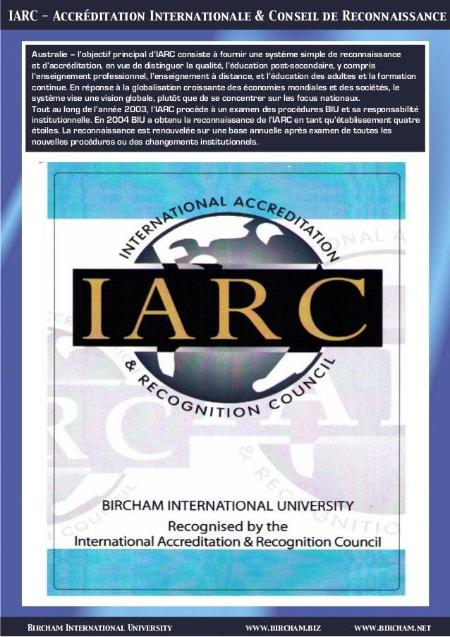 Bircham International University www.bircham.biz www.bircham.net IARC - Accréditation Internationale & Conseil de Reconnai...