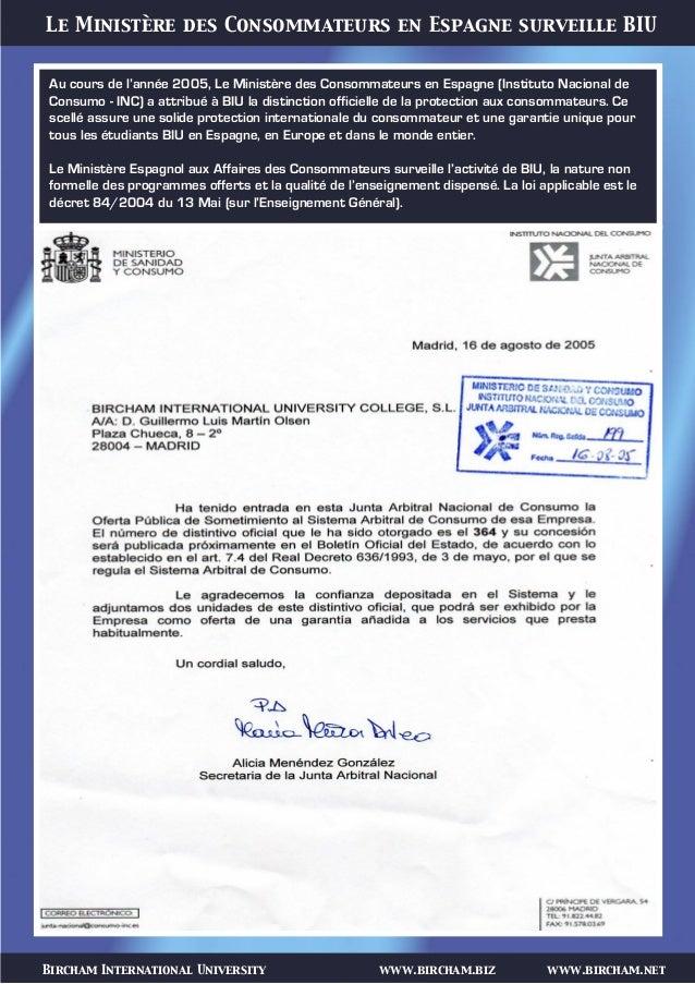 Bircham International University www.bircham.biz www.bircham.net Le Ministère des Consommateurs en Espagne surveille BIU A...