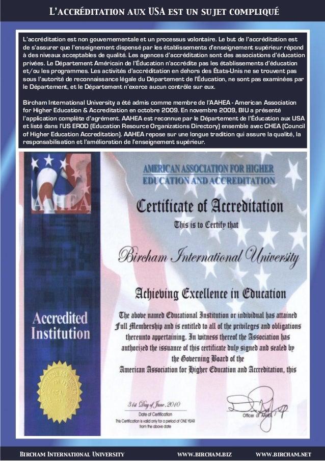 Bircham International University www.bircham.biz www.bircham.net L'accréditation aux USA est un sujet compliqué L'accrédit...