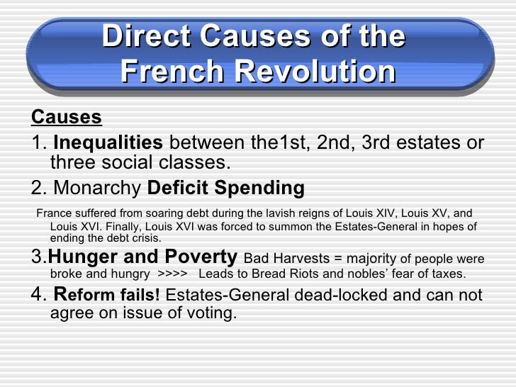 an analysis of the different causes of the french revolution