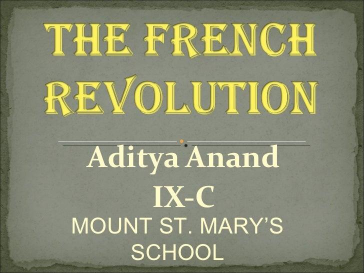 Aditya Anand IX-C MOUNT ST. MARY'S SCHOOL