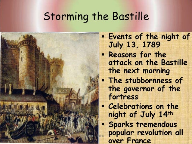 storming of bastille The storming of the bastille (french: prise de la bastille [pʁiz də la bastij]) occurred in paris, france, on the afternoon of 14 july 1789the medieval fortress, armory, and political prison in paris known as the bastille represented royal authority in.