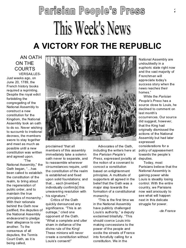 French Revolution Project The Parisian People S Press