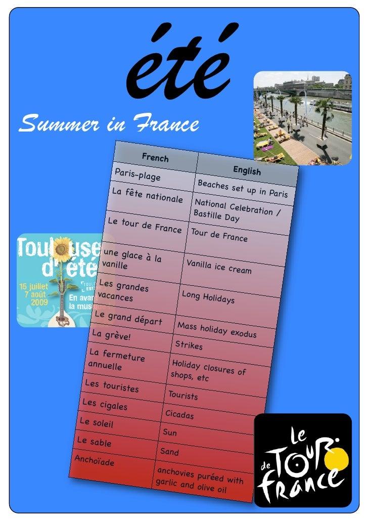Summer in France                     été French                  Paris-pla                           English              ...