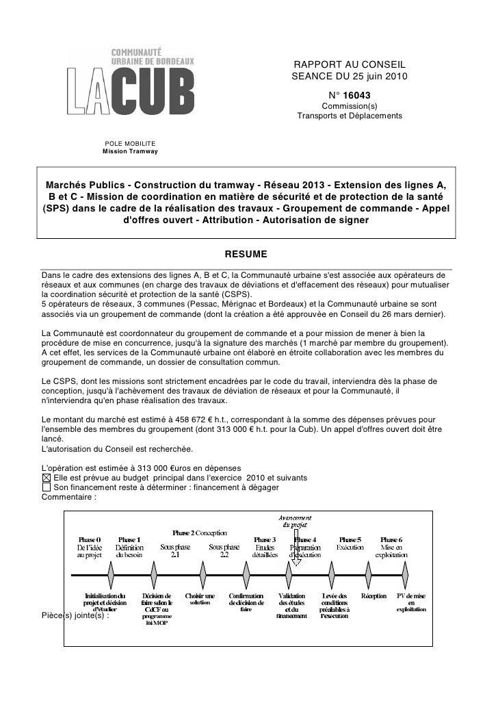 RAPPORT AU CONSEIL                                                                   SEANCE DU 25 juin 2010               ...