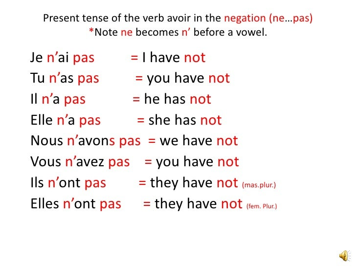 French verb avoir in the present tense