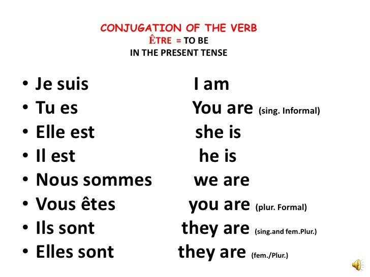 French verb etre in present tense