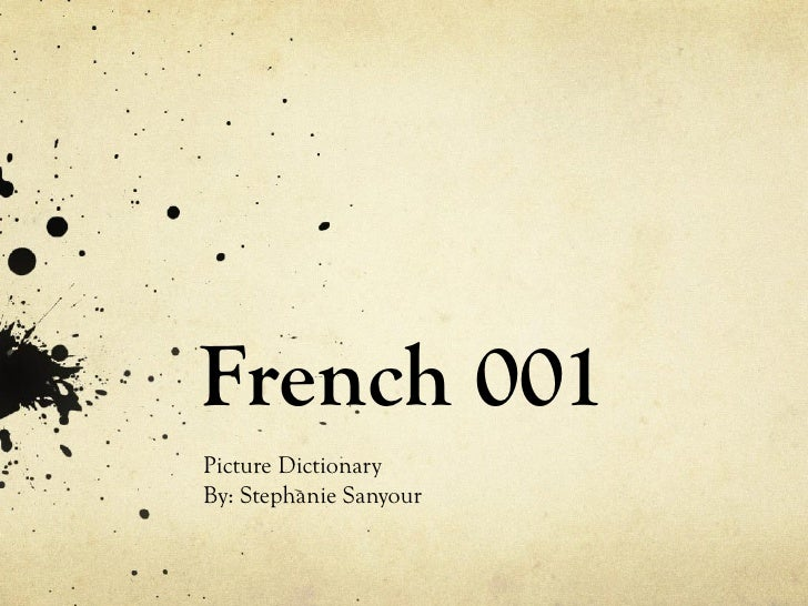 French 001 Picture Dictionary By: Stephanie Sanyour