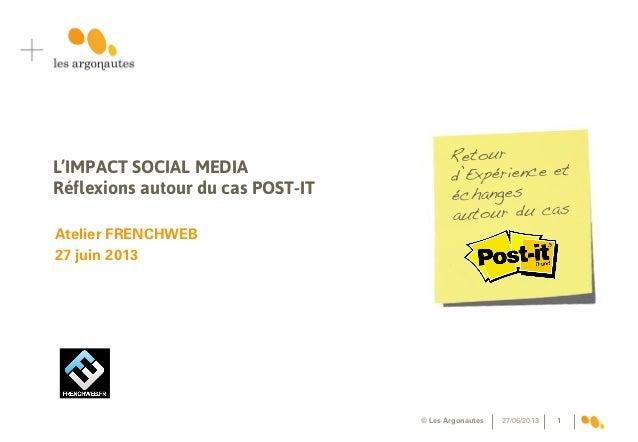 L'IMPACT SOCIAL MEDIA Réflexions autour du cas POST-IT Atelier FRENCHWEB 27 juin 2013 27/06/2013© Les Argonautes 1 Retour ...