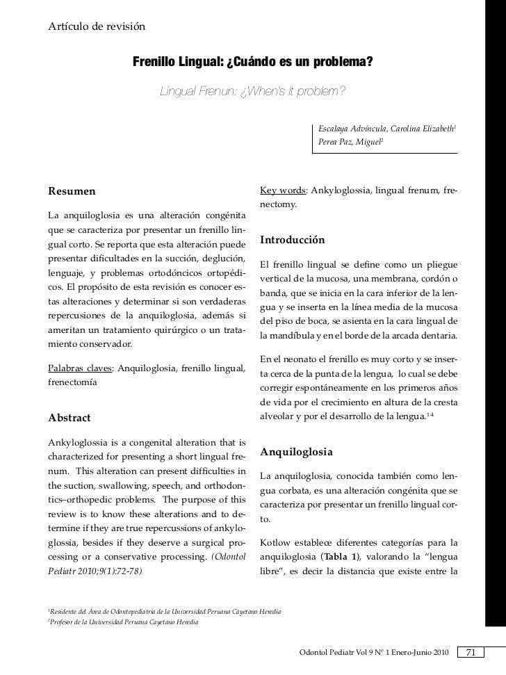Artículo de revisión                                                                       Frenillo Lingual: ¿Cuándo es un...