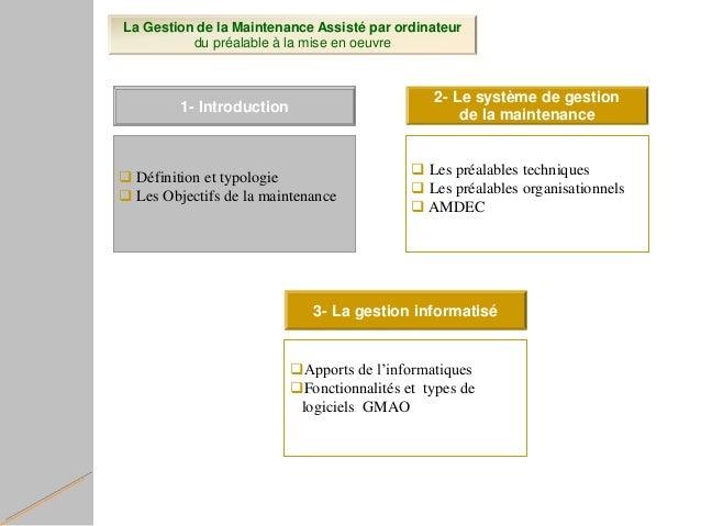 La Gestion de la Maintenance Assisté par ordinateur du préalable à la mise en oeuvre  Définition et typologie  Les Objec...