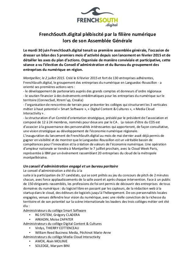 FrenchSouth.digital  plébiscité  par  la  filière  numérique     lors  de  son  Assemblée  Général...