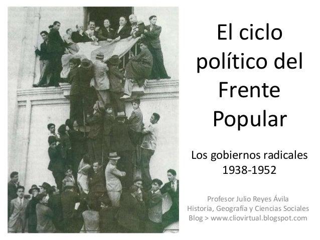 El ciclo político del Frente Popular Los gobiernos radicales 1938-1952 Profesor Julio Reyes Ávila Historia, Geografía y Ci...