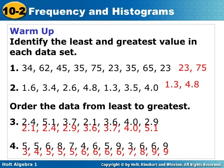 Warm Up Identify the least and greatest value in each data set. 1.  34, 62, 45, 35, 75, 23, 35, 65, 23 2.  1.6, 3.4, 2.6, ...