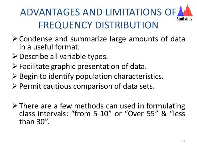 ADVANTAGES AND LIMITATIONS OF FREQUENCY DISTRIBUTION Condense and summarize large amounts of data in a useful format. De...