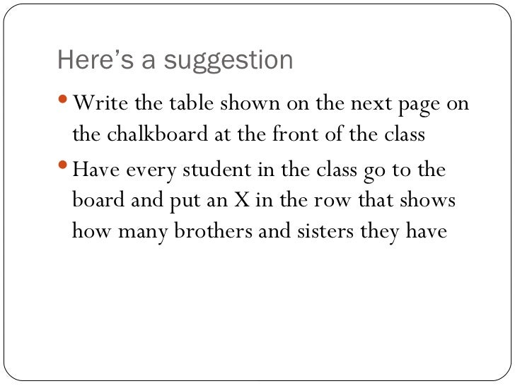Here's a suggestion <ul><li>Write the table shown on the next page on the chalkboard at the front of the class </li></ul><...