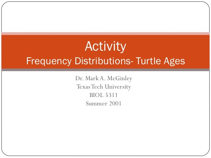 Dr. Mark A. McGinley Texas Tech University BIOL 5311 Summer 2001 Activity Frequency Distributions- Turtle Ages