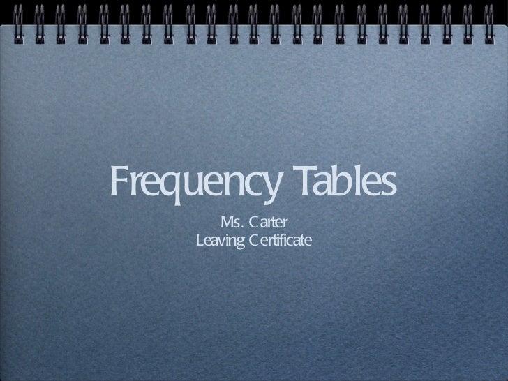 Frequency Tables <ul><li>Ms. Carter </li></ul><ul><li>Leaving Certificate </li></ul>