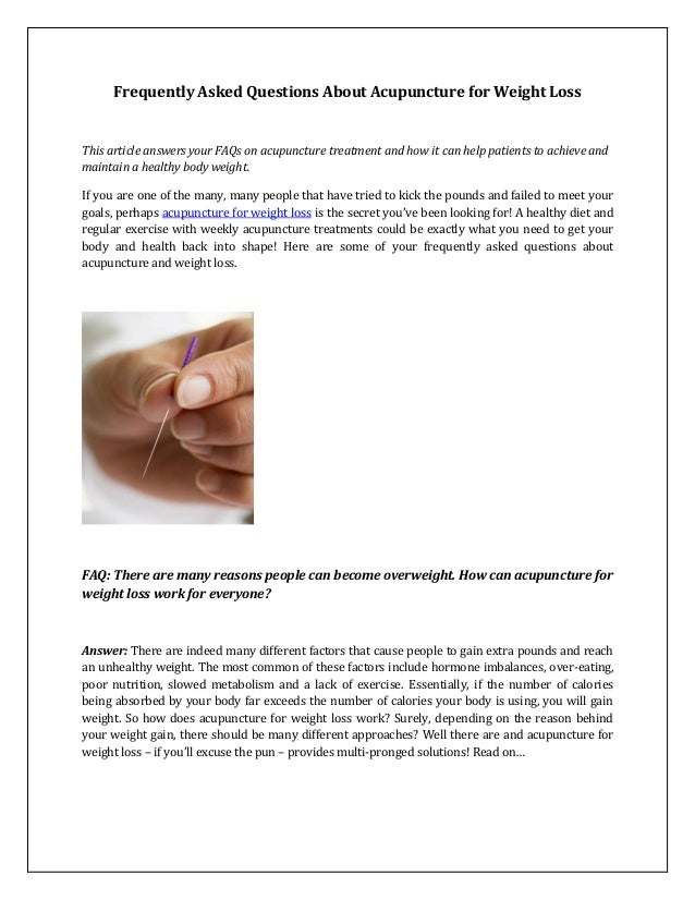 Frequently Asked Questions About Acupuncture For Weight Loss