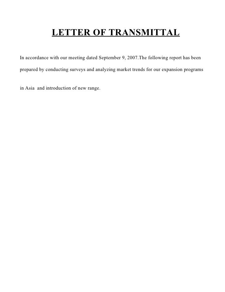 LETTER OF TRANSMITTAL  In accordance with our meeting dated September 9, 2007.The following report has been  prepared by c...