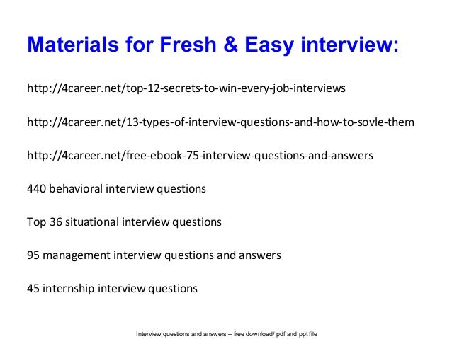 Fresh Amp Easy Interview Questions And Answers