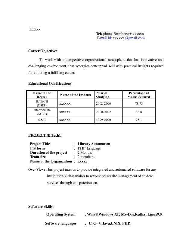 Sample Resume Format For Mba Finance Freshers