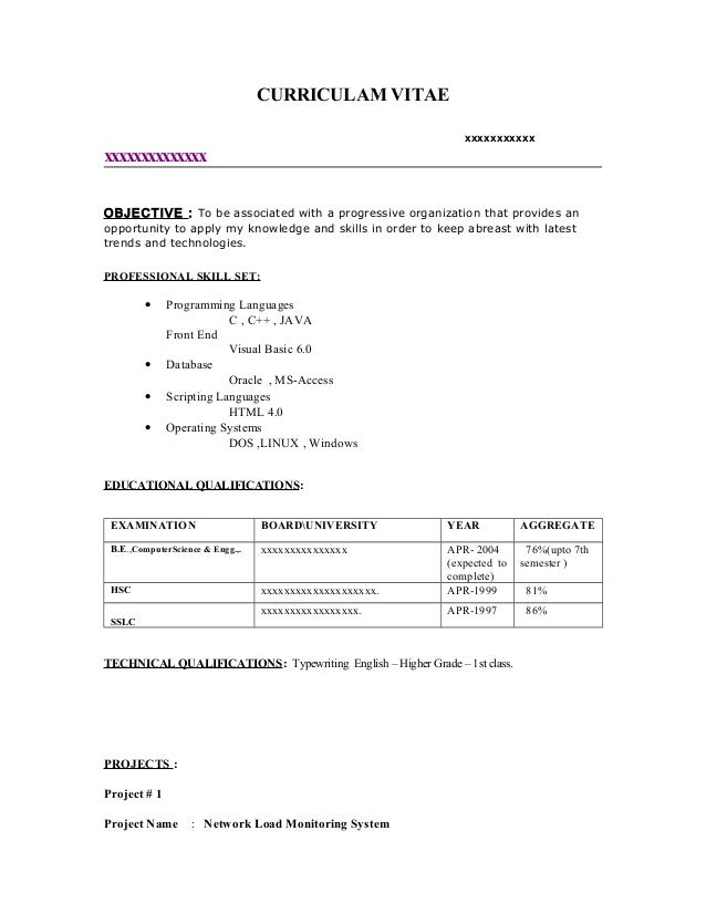 sample resume objective fresher resume sample5 by babasab patil 1013