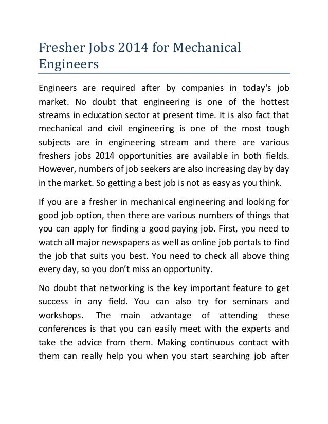 Fresher jobs 2014 for mechanical engineers