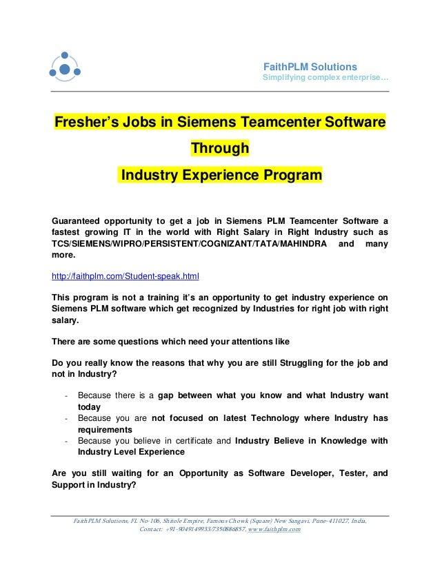 Fresher's jobs in siemens teamcenter software through