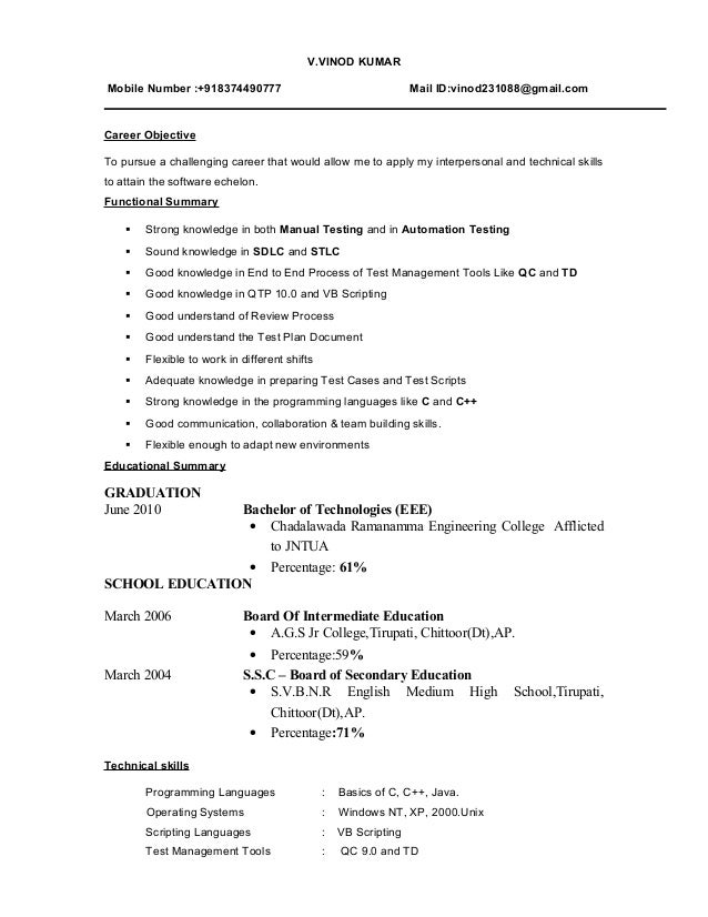 sample resume software tester fresher