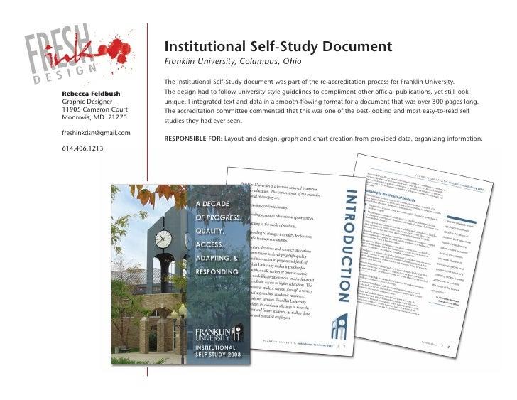 institutional self-study Document                         Franklin University, Columbus, Ohio                          The...
