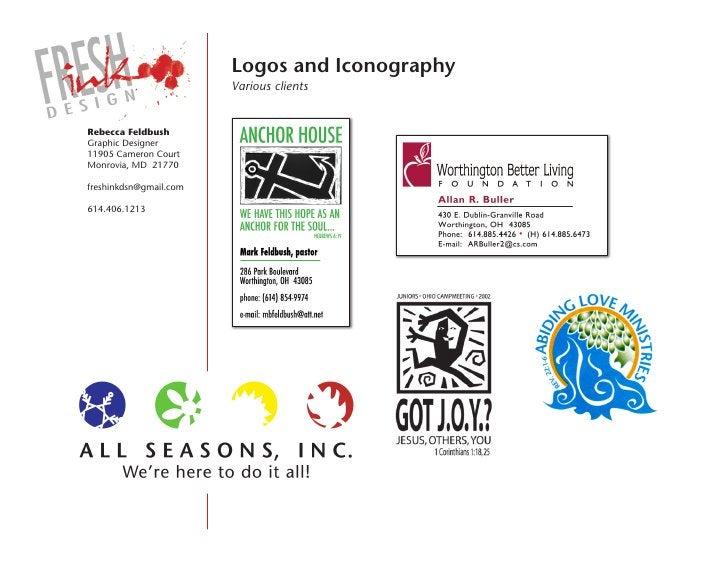 logos and iconography                         Various clients   Rebecca Feldbush Graphic Designer 11905 Cameron Court Monr...