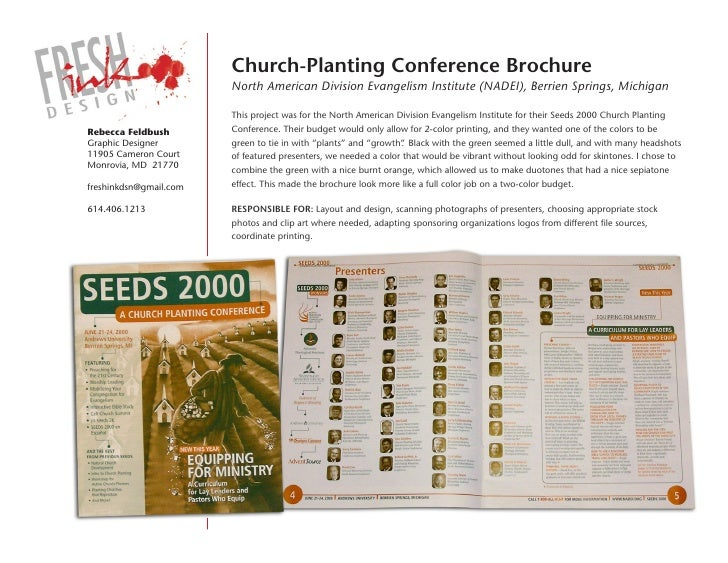 Church-Planting Conference brochure                         North American Division Evangelism Institute (NADEI), Berrien ...