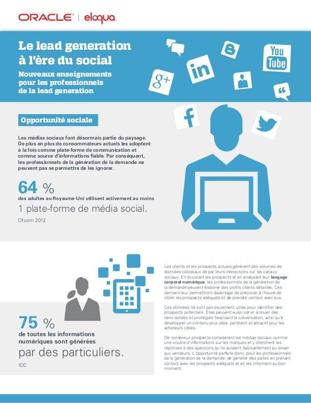 Opportunité sociale Le lead generation àl'èredusocial Nouveaux enseignements pour lesprofessionnels de la lead generat...